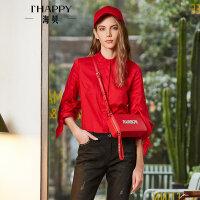 海贝2018春季新款女装上衣 通勤立领长袖系带大红衬衫