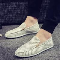 2018夏季新款男鞋韩版潮流豆豆鞋休闲条纹一脚蹬懒人鞋小白鞋