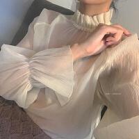 2018新款蕾丝打底衫女长袖春秋内搭超仙气质上衣花边领仙仙女喇叭袖雪纺衫 杏色