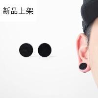 韩版磁铁无耳洞耳钉 黑色个性时尚男女生款吸铁石耳夹 学生情侣假耳饰 耳钉男学生耳钉朋克