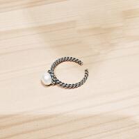 S925银戒指女复古做旧泰银编织麻花贝珠珍珠开口食指指环饰品