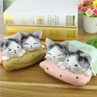 甜甜猫私房猫情侣双枕存钱罐摆件 创意学生礼品装饰 树脂工艺品