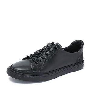 BASTO/百思图2018秋季专柜同款黑色牛皮革松紧带男休闲鞋BXH11CM8
