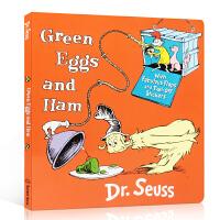 英文原版 Green Eggs & Ham 绿鸡蛋和火腿 培养孩子阅读英文读物纸板翻翻书亲子共读 句型简单 Dr. S