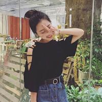韩系软妹露肩上衣女夏新款韩版小性感镂空衣服宽松百搭短袖体恤潮