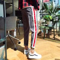2018春冬季裤子男韩版潮流百搭学生bf风宽松灯芯绒ulzzang运动裤
