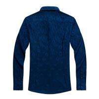 青年休闲衬衣男士长袖竹纤维衬衫男秋款商务男装衬衫 深蓝色