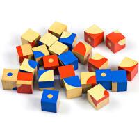 益智木制立体积木拼图六面画七巧板2早教3-6周岁儿童玩具