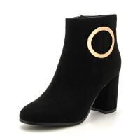 St&Sat/星期六冬季商场同款欧美粗跟短靴女靴SS84116519