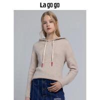 【5折价200】Lagogo/拉谷谷2018冬季新款温柔慵懒风连帽针织衫HCMM439A29