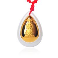 梦克拉 金镶玉吊坠观音吊坠 3D硬金 黄金镶和田玉水滴形玉坠 福音 可礼品卡购买