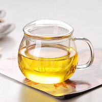 加厚耐热玻璃泡花茶杯 透明过滤杯子 三件式办公圆趣水杯300ml过滤家用女泡茶办公喝水杯