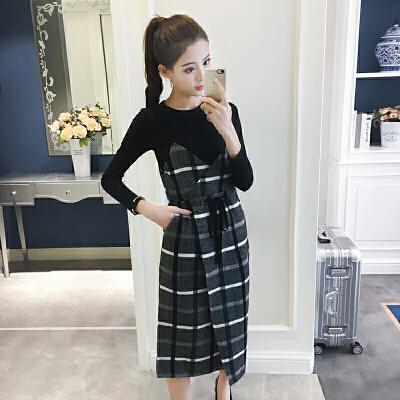 秋季新款女装韩版格子吊带裙套装裙修身气质两件套长袖连衣裙 发货周期:一般在付款后2-90天左右发货,具体发货时间请以与客服商的时间为准