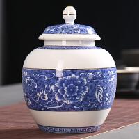 普洱茶青花小�茶罐�④�罐茶�~罐陶瓷大�密封罐家用�凸糯善�