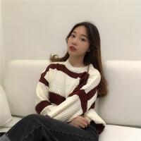 毛衣女秋冬新品简约百搭条纹粗毛线内搭学生韩版小个子套头针织衫
