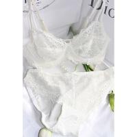 大码文胸胖mm大胸显小薄无海棉胸罩性感妩媚蕾丝透明女士内衣套装 乳白色 套装