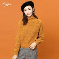2017冬季新款纯色宽松套头韩版显瘦针织衫半高领女士毛衣 打底衫