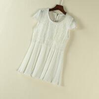 夏季短袖t恤女式雪纺衫韩版女装短蕾丝衫修身上衣