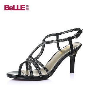 Belle/百丽夏专柜同款羊皮革知性优雅女凉鞋BDBB5BL6
