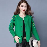 秋新款韩版女装针织衫纯色小开衫毛衣短款外套修身针织春装外搭 绿色 ZY6006
