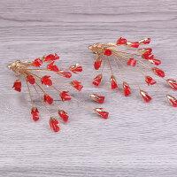 红色新娘头饰手工头花秀盘发发饰对夹配饰结婚礼服花朵新娘饰品