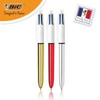 法国BIC比克闪光圆珠笔4色金银红多色笔1.0mm学生用中性原子笔办公文具用品复写笔penbeat专用