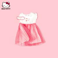 【2件2.3折:56.6元】HelloKitty女童短袖连衣裙2021夏季新款网纱公主裙宝宝儿童装裙子