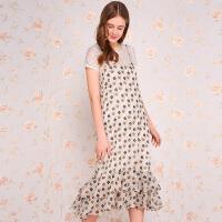 夏装新品吊带裙荷叶边长裙印花雪纺连衣裙女D728669L40