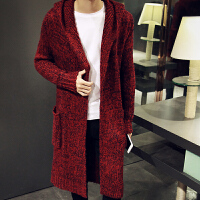 新款秋冬毛衣男开衫中长款针织衫外套青少年连帽薄款线衣韩版男装