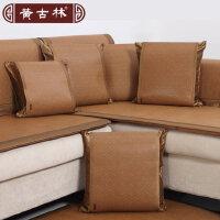 黄古林古藤靠垫套子不含芯60 60沙发夏季中式凉席床头抱枕套