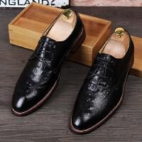 米乐猴 潮牌青年男士尖头皮鞋鳄鱼纹商务正装休闲鞋内增高时尚发型师潮鞋