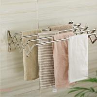 卫生间浴室304不锈钢可伸缩折叠毛巾杆浴巾架卫浴五金挂件