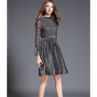蕾丝拼接连衣裙春秋新款欧洲站女装修身中长款金丝绒百褶裙子