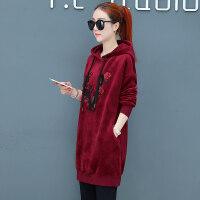 加绒加厚卫衣套装女休闲运动服韩版宽松大码女装中长款两件套冬装