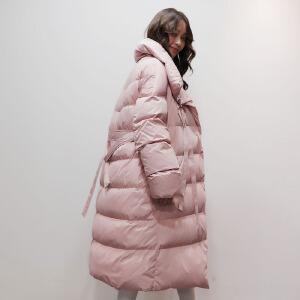 yaloo/雅鹿2017新款羽绒服女中长款 韩版冬季收腰过膝羽绒服