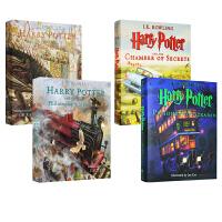 哈利波特英文原版小说 全彩插画绘本 1 2 3 Harry Potter The Illustrated Collection 青少年 10 15岁 彩绘精装珍藏版