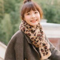 新款韩国东大门仿兔毛豹纹围巾女冬季学生双面毛毛绒围脖短款