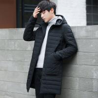 男装冬季新款纯色连帽男士中长款羽绒服轻薄修身韩版青年学生外套