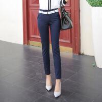 秋冬新款西裤女小脚正装长裤加绒休闲直筒铅笔高腰黑色职业工装裤