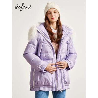 2件4折 伊芙丽冬装新款韩版宽松羽绒衣中长款羽绒服外套1189987861