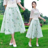 夏装新款 中国风中长裙 欧根纱 雪纺长裙 印花半身裙女长裙
