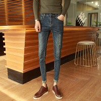 英伦 男装牛仔裤修身小脚青年长裤显瘦个性潮 休闲猫爪裤子