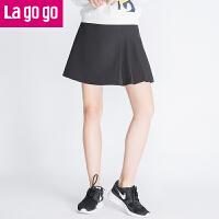 Lagogo拉谷谷2016年秋冬新款黑色百搭半身裙百褶裙显瘦女短款裙子