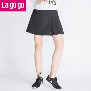 【两件4.5折后价23】Lagogo拉谷谷2016年秋冬新款黑色百搭半身裙百褶裙显瘦女短款裙子