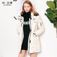 工装羽绒服女中长款2018冬季新款韩版宽松运动加厚时尚鸭绒外套潮