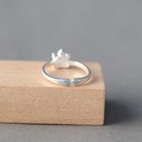 老凤祥S92纯5银猫爪戒指女日韩甜美指环可爱小猫戒指闺蜜女友礼物 幸福猫爪手工纯银戒指