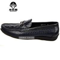 米乐猴 潮牌春季鳄鱼纹男鞋商务休闲皮鞋潮流韩版单鞋船鞋 透气驾车鞋子男鞋