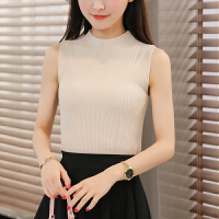 春夏新款韩版半高领冰丝针织背心修身显瘦无袖吊带打底衫女士上衣 均码