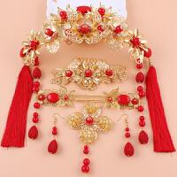 新娘饰品古装凤冠头饰金色民族风红色流苏中式结婚秀禾和服发饰 金色六件套 送手镯+礼盒包装