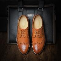 CUM 潮牌系带英伦皮鞋布洛克男鞋潮雕花男士休闲鞋巴洛克擦色复古单鞋春季